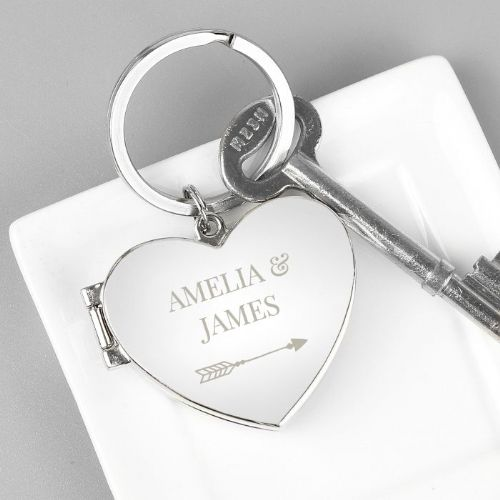 Personalised Arrow Heart Photoframe Keyring